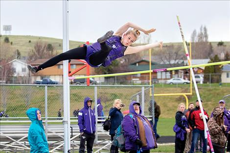 Charlo Lady Viking Kaitlin Cox just misses a clean vault.