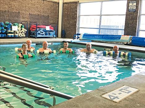 Swimmers attend an exercise class at Mission Valley Aquatics and Fitness.