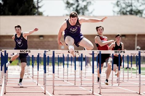 Charlo Viking Landers Smith races to a first-place finish in the hurdles.