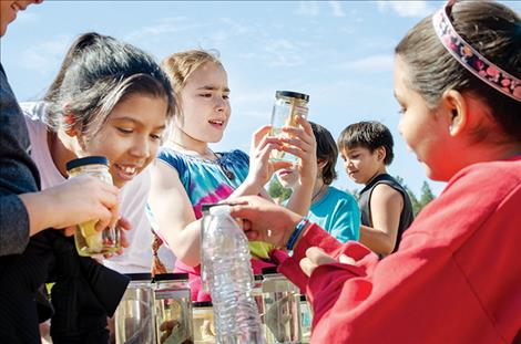 Different fish species in jars capture children's attention during the 33rd annual River Honoring.