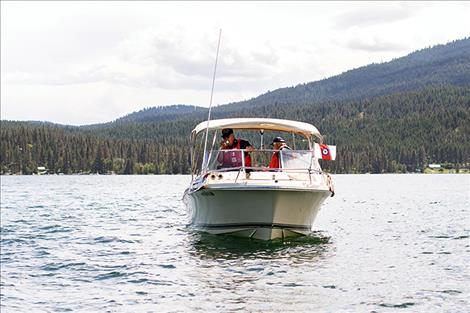 U.S. Coast Guard Auxiliary Kalispell Flotilla 130-10-05 on safety inspection patrol on Flathead Lake.