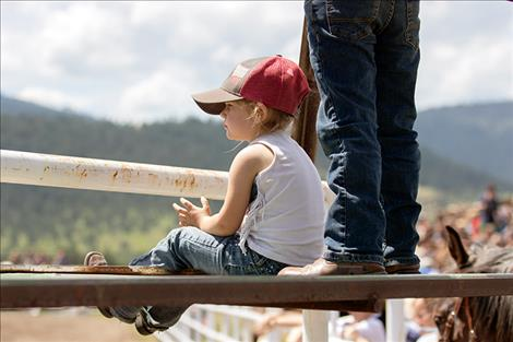 A young rodeo fan enjoys the show.