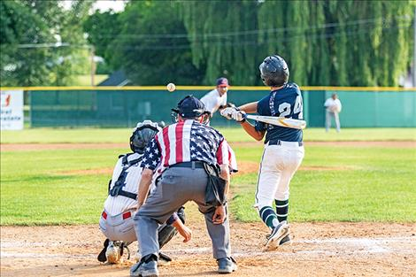Mission Valley Mariner Alex Muzquiz gets a hit during a July 7 home game.
