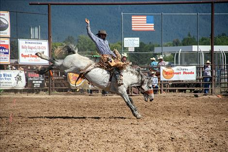 Arlee cowboy Tyler Friend rode his bronc for a score of 72 points to win Sunday's event.
