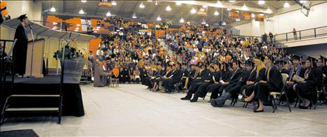 The Ronan High School class of 2013 listens to speakers.