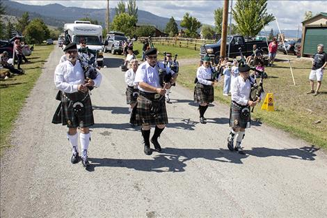 Bagpipers entertain in the Dayton Daze parade.