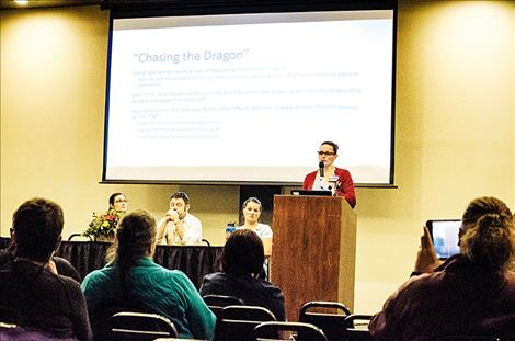 Maria McNeil Williams of St. Joseph Medical Center speaks about opioid addiction at an informative community event held at the Kwataqnuk on Thursday.