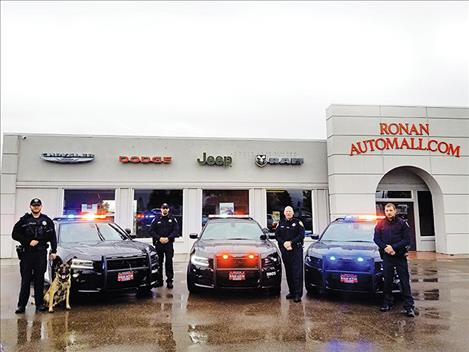 Ronan Police Department purchased three new patrol cars to replace the department's well used older vehicles.