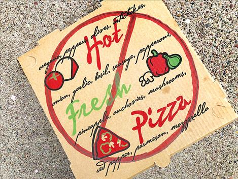 Pizza boxes and any other cardboard or plastic that is contaminated with food cannot be recycled and must be thrown away.