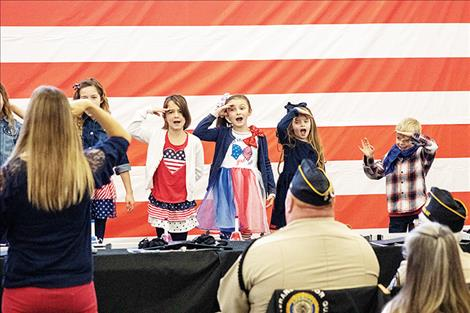 Children at Glacier View School honor veterans with songs, poems and words of thanks.