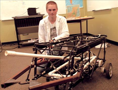 Cash Sisler uses a futon frame, PVC pipe and other found items to make his BattleBot and keep to his budget of $75.