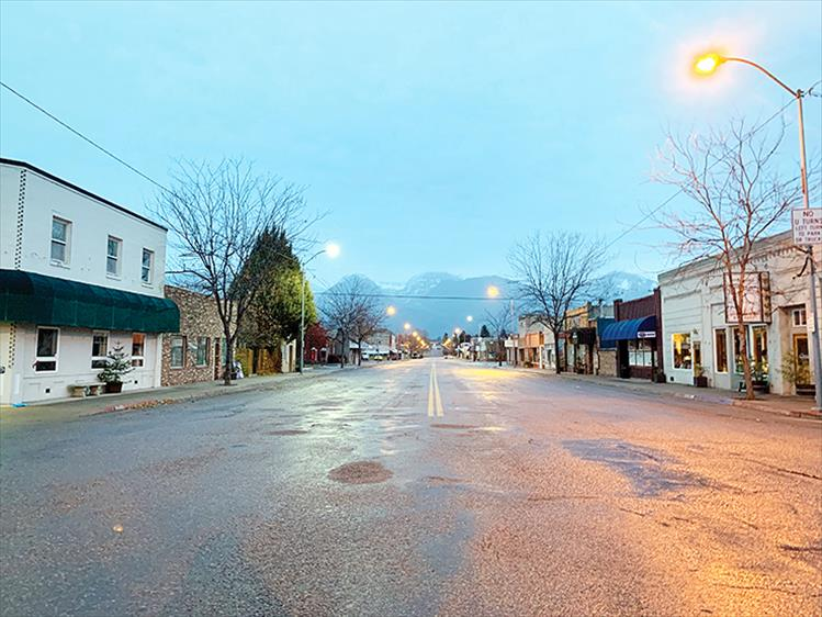 Still asleep: Main Street in Ronan is quiet during the early morning hours.