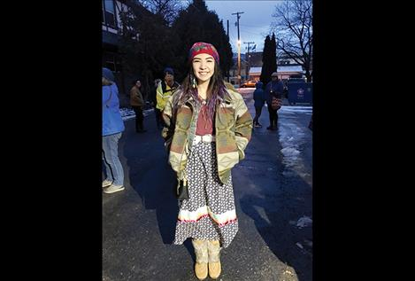 Grace Sutherland, who won second place in an MLK essay and poetry contest for her letter to Missing and Murdered Indigeouns Women, wears her hand-sewn ribbon skirt as she marched in a youth rally.