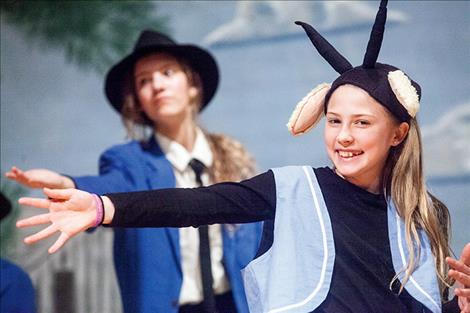 Olivia Valentine plays a black sheep in Friday night's show while Laura Tromp, behind her, is a judge.