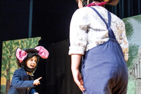 Finn Goddard, who played the City Mouse on Saturday, talks to his country mouse cousin about his troubles with city life.