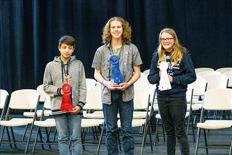 Winners of the 55th Annual Lake County Spelling Bee are Jayceon Cutfinger, second place; August Hertz, first place; and Marina Kestner-Pavlock, third place.
