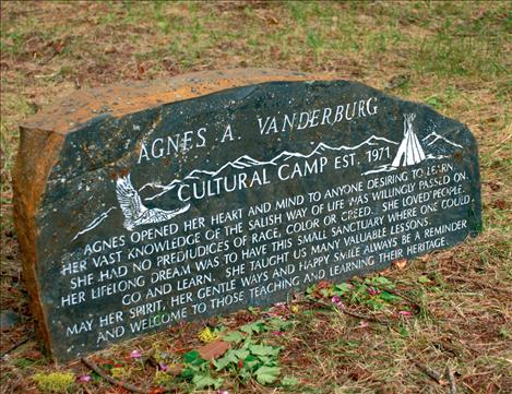 An inscription at Culture Camp honors Agnes Vanderburg, who began the Culture Camp on her property.
