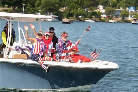 """Rob Zolman / Valley Journal Some boaters enjoy the Fourth of July morning with a """"President Trump Boat Parade,"""" hosted by the Lake County Republican Women."""
