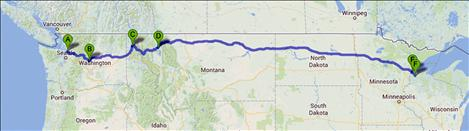 A Google map illustrates Lewis' journey so far. He hopes to complete the walk across the country in late September.