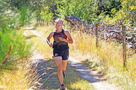 Olivia Heiner was the top finisher for Ronan girls cross country runners.