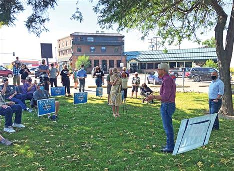 Gubernatorial candidate stumps for votes in Polson