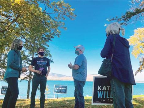 Kathleen Williams campaigns in Polson.