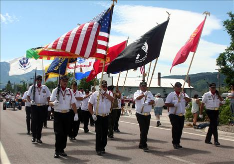 The Mission Valley Honor Guard leads the Arlee Celebration Parade down U.S. Highway 93 on July 4.