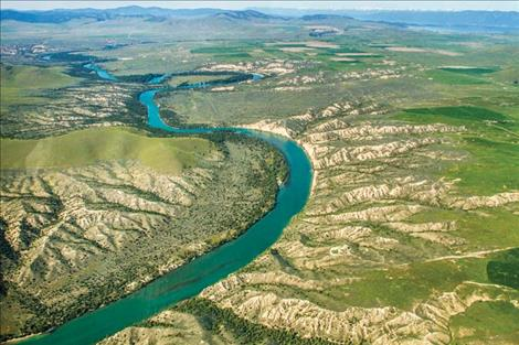 Aerial view of the Flathead River and surrounding terrain north of the National Bison Range.
