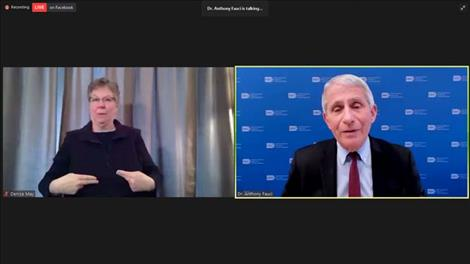Screenshot of Dr. Anthony Fauci's talk on Feb. 17 during a Q&A, hosted by the  University of Montana's Mansfield Center.
