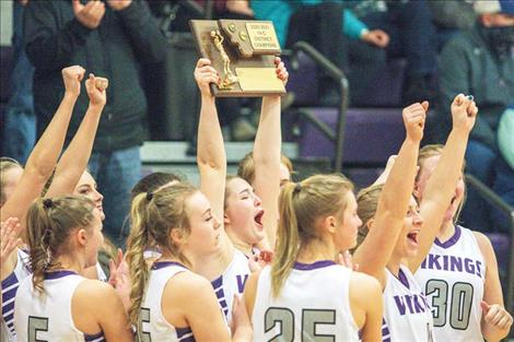 The Charlo Lady Vikings celebrate their fourth straight District 14C Championship.