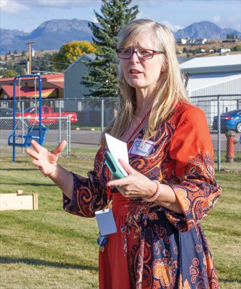 Cherry Valley special education teacher Bonnie Petersen thanks those attending who helped make the new playground a reality.