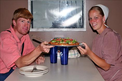 Joel and Bethany Engbretsonusually order their favorite,the cheeseburger pizza.