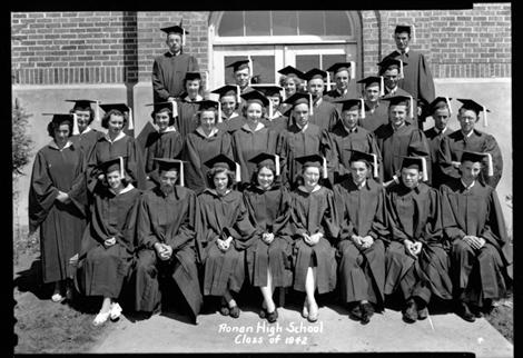 Ronan High School class of 1942 on their graduation day. Five of these individuals would later become millionaires. Local photographer David Spear developed this negative for the Valley Journal.