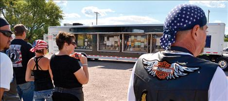 During its brief stop at the Ronan VFW, The Wall That Heals was treated with great respect by those who stopped by to see the trailer that housed the wall, and the mobile memorial.