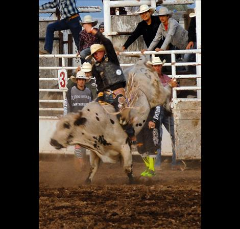 Only two bullriders covered their bulls during the Saturday evening performance. Justin Granger scored 81 points to win the go around.